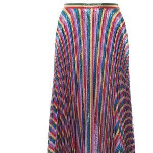 NEW $1980 Gucci Plissé-Lurex midi skirt metallic